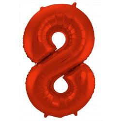Ballon cijfer 8 mat rood