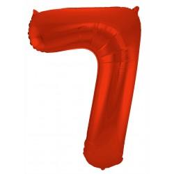 Ballon cijfer 7 mat rood