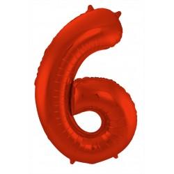 Ballon cijfer 6 mat rood