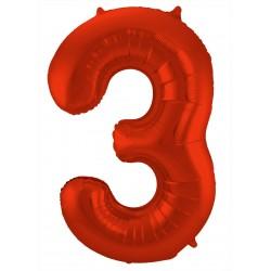 Ballon cijfer 3 mat rood