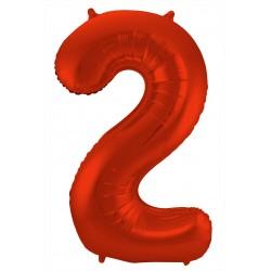 Ballon cijfer 2 mat rood