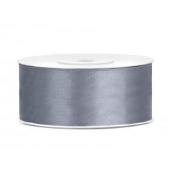 Satijnlint 25 mm zilver