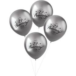 Ballonnen zilver Happy 25th...