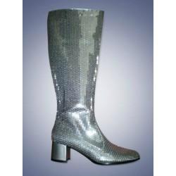 Zilveren glitter laarzen dames