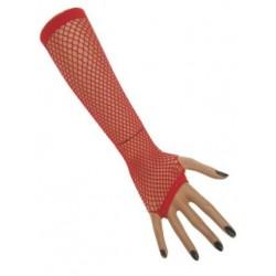 Nethandschoenen lang vingerloos rood