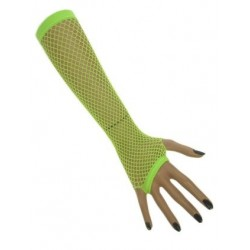 Nethandschoenen lang fluor groen