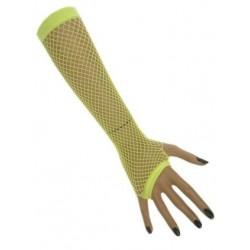 Nethandschoenen lang fluor geel