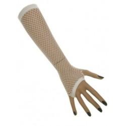 Nethandschoenen lang vingerloos wit