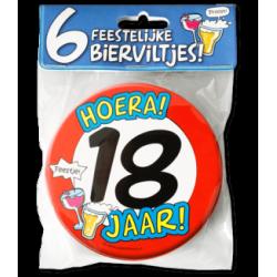 Bierviltjes verkeersbord 18 jaar