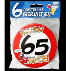 Bierviltjes verkeersbord 65 jaar
