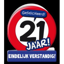 Wenskaart verkeersbord 21 jaar