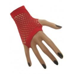 Nethandschoenen kort vingerloos rood