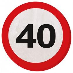 Servetten verkeersbord 40
