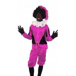 Zwarte Piet kostuum zwart roze