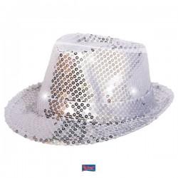 Gleufhoed glitter zilver met LED licht