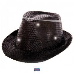 Gleufhoed glitter zwart met LED licht