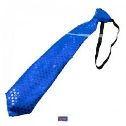 Stropdas glitter blauw met LED