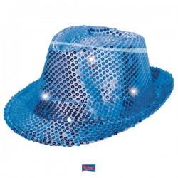 Gleufhoed glitter blauw met LED licht