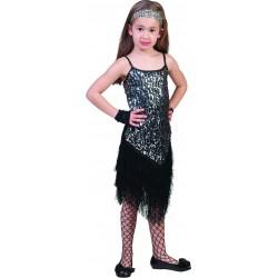 Charleston jurk glitter zwart / zilver