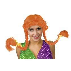 Pruik Pippi oranje