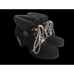Trachtenlaarsjes zwart met bont