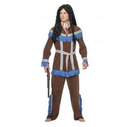 Kostuum Indiaan donker bruin met blauw