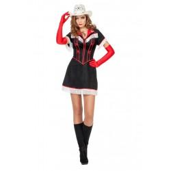Jurk cowgirl zwart met rood