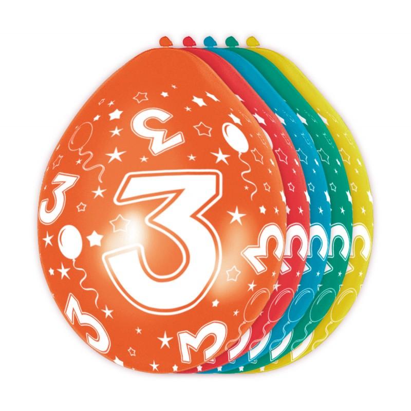 Ballonnen met cijfer 3
