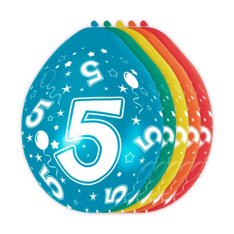 Ballonnen met cijfer 5