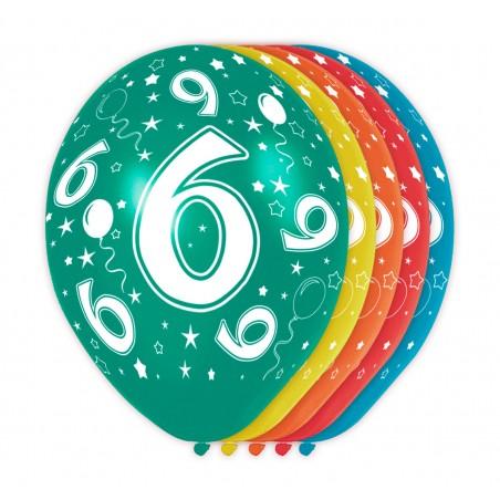 Ballonnen met cijfer 6